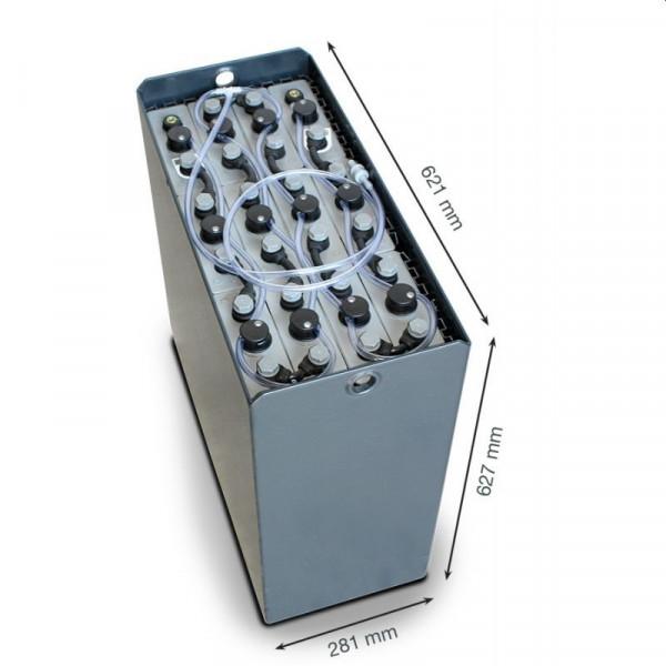 Q-Batteries 24V vorkheftruck accu 3 PzS 345 Ah DIN B (621 * 281 * 627 mm L/B/H) caja de acero 570140