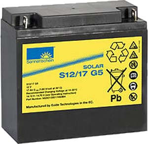 Exide Sonnenschein Solar S12/17 G5 Lead Gel Battery 12V 17 Ah