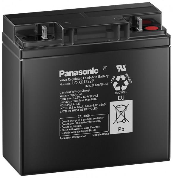 Panasonic LC-XC1222P 12V 22 Ah lood non spillable accu AGM cyclusbestendig/diepe cyclus