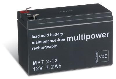 Multipower MP7,2-12/12V 7,2 Ah lood batterij met VdS goedkeuring