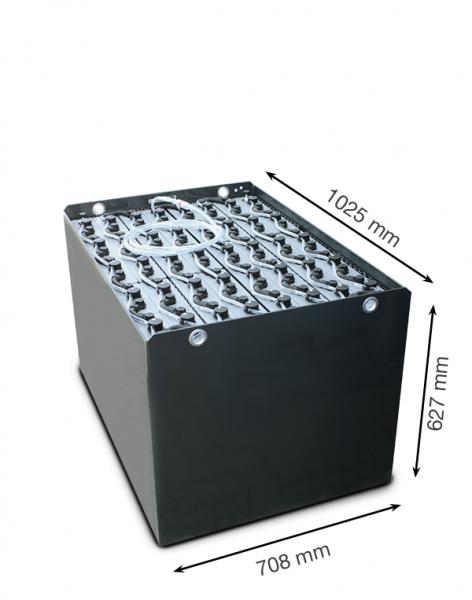 Q-Batteries 80V vorkheftruck accu 4 PzS 500 Ah DIN A (1023 * 705 * 627 mm L/B/H) caja de acero 57019