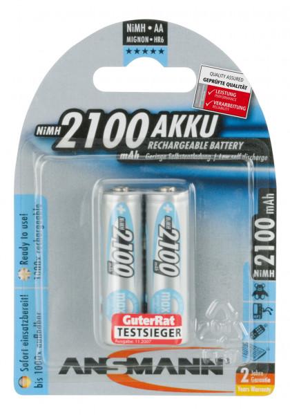 ANSMANN batterij Mignon AA HR06 2100mAh NiMH (2 blisterverpakking)