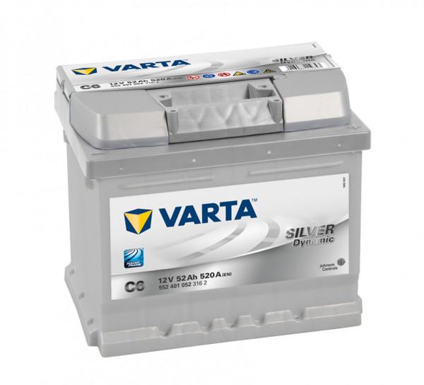 VARTA Silver Dynamic 552 401 052 3162 C6 12Volt 52 Ah 520A/EN start accu