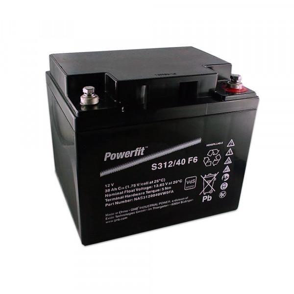 Exide Powerfit S312/40 F6 12V 38 Ah dryfit lood accu AGM met VdS