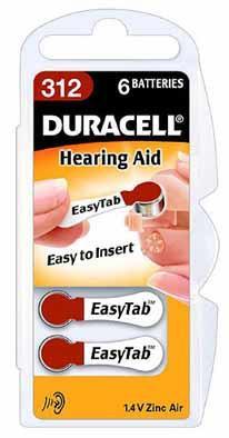 Duracell ActivAir Easy Tab 312 hoortoestel batterij 1.4V (6 blisterverpakking)