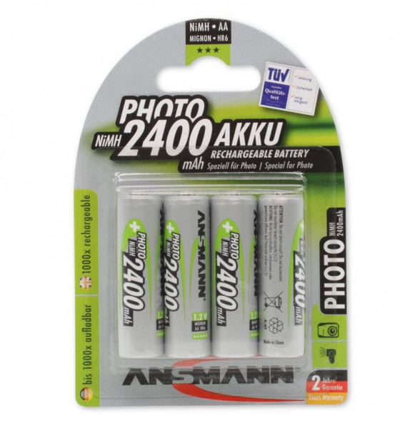 ANSMANN batterij Mignon AA 2400mAh NiMH (4 blisterverpakking)