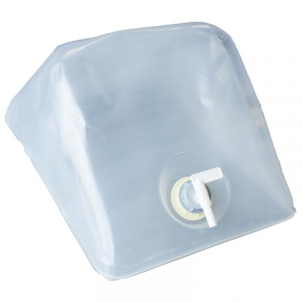 Vouwen blik druppel water container met 25 l gedemineraliseerd water in doos