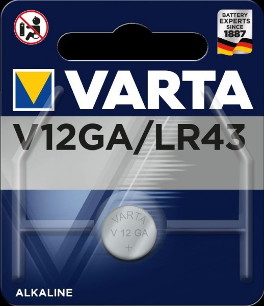 VARTA Electronics V12GA LR43 Fotobatterij 1,5V (1 blister)