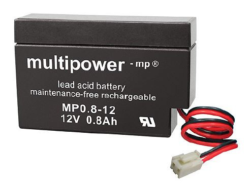 Multipower MP0,8-12/12V 0,8 Ah lood batterij AGM met JST stekker