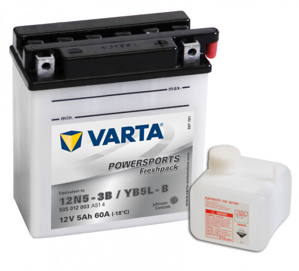 VARTA Powersports Freshpack 12N5-3B Motorcycle Battery YB5L-B 505012003 12V 5 Ah 60A