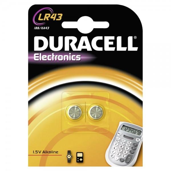 Duracell LR43 knoopcel alkalimangaan (2 blisterverpakkingen)