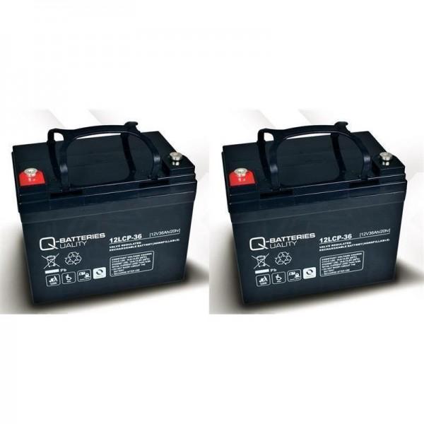 Vervangende batterij voor E-Scooter Rapid 2 2 St. Q-Batteries 12LCP-36 12V – 36 Ah Cycle type AGM VR