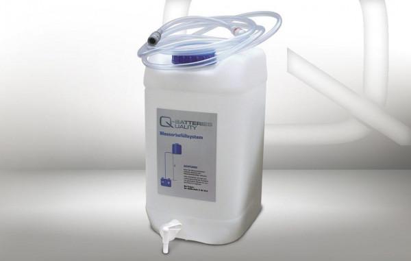 Druppelwatertank 30 l met uitlaatklep, stroomindicator met filter, slang (4 m) en koppeling