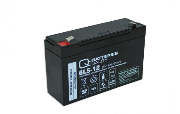 Q-Batteries 6LS-12 6V 12 Ah lood non spillable accu/AGM VRLA met VdS