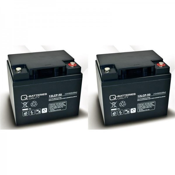 Vervangende batterij voor Mangar Freestyle 2 stuks. Q-Batteries 12LCP-50 12V – 50 Ah lood batterij c