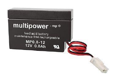 Multipower MP0,8-12/12V 0,8 Ah lood batterij AGM met AMP stekker