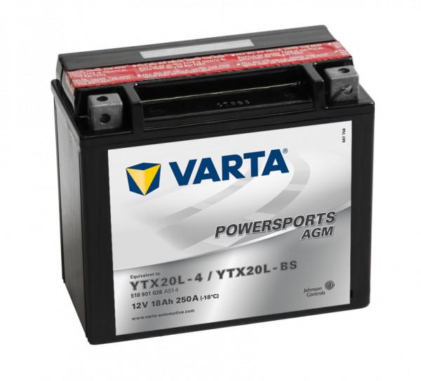 VARTA Powersports AGM YTX20L-4 Motorfietsaccu YTX20L-BS 518901026 12V 18 Ah 260A