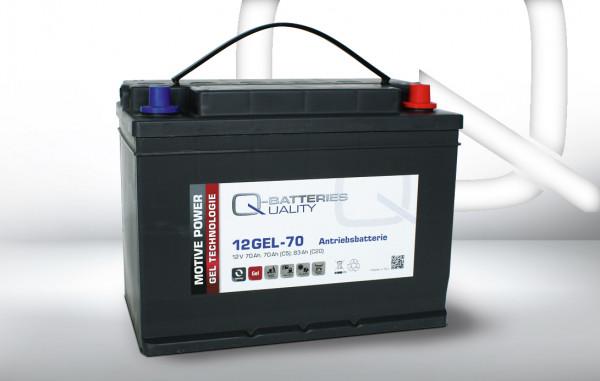 Q-Batteries 12GEL-70 tractiebatterij 12V 70 Ah (5h), 75 Ah (20h) onderhoudsvrije gelbatterij VRLA