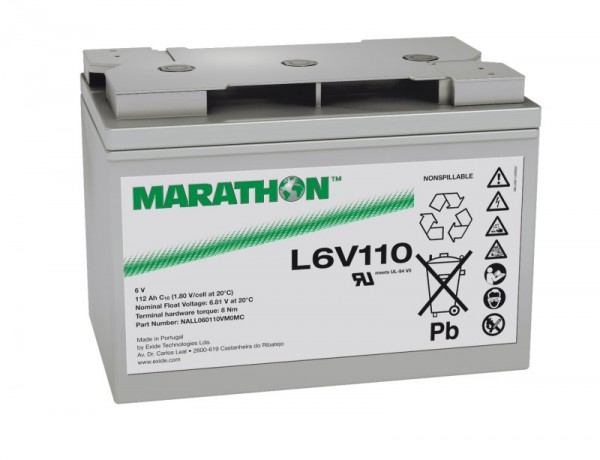 Exide Marathon UL6V110 6V 112 Ah AGM loodaccu VRLA