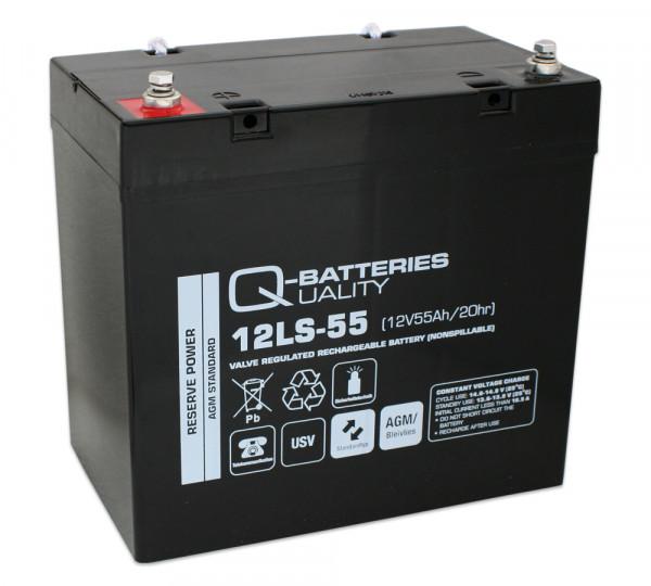 Q-Batteries 12LS-55/12V – 55 Ah loodaccu Standaard type AGM VRLA 10 jaar type