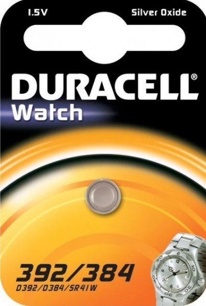 Duracell D 392/384 SR41 horloge knoopcel zilveroxide 45mAh 1.55V (1 blister)