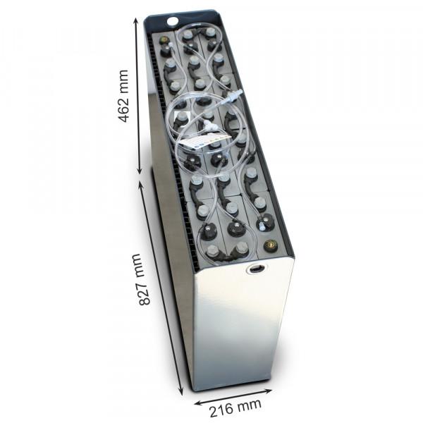 Q-Batteries 24V vorkheftruck accu 3 PzS 240 Ah DIN A (827 * 216 * 462 mm L/B/H) caja de acero 570140