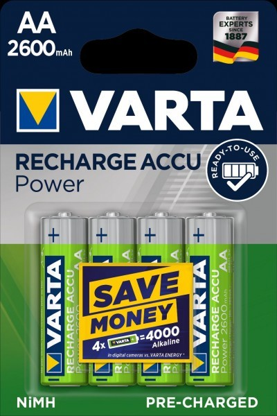 VARTA batterij opladen Accu Power Mignon AA 2600mAh (4 Blister)