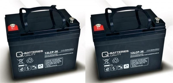Vervangende batterij voor Shoprider Portas Plus 2 stuks. Q-Batteries 12LCP – 36/12V – 36 Ah Cycle ty