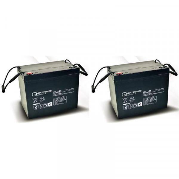 Vervangingsbatterij voor Invacare Storm 3 2 stuks. Q batterijen 12LC-75/12V – 77 Ah loodaccu type AG