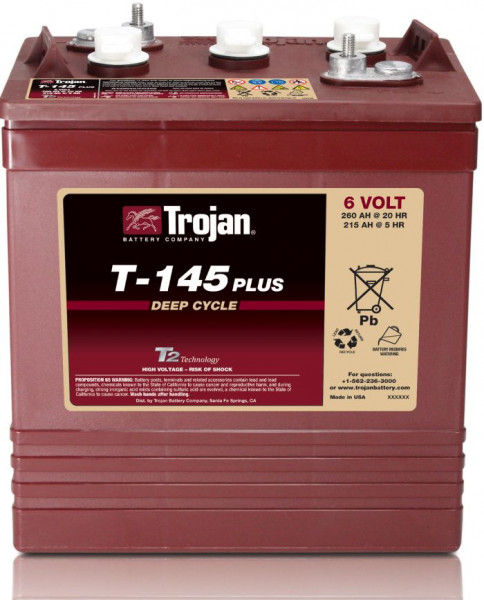 Trojan T-145 Plus 6V 260 Ah Deep Cycle tractie accu ELPT-terminal