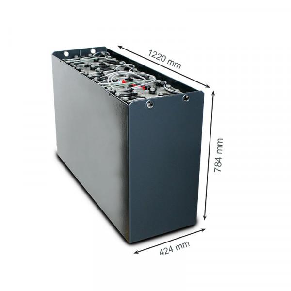 Q-Batteries 48V vorkheftruck accu 5 PzS 775 Ah DIN C (1220 * 424 * 784 mm L/B/H) caja de acero 57017