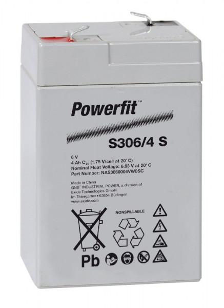Exide Powerfit S306/4 S 6V 4,5 Ah dryfit lood accu AGM