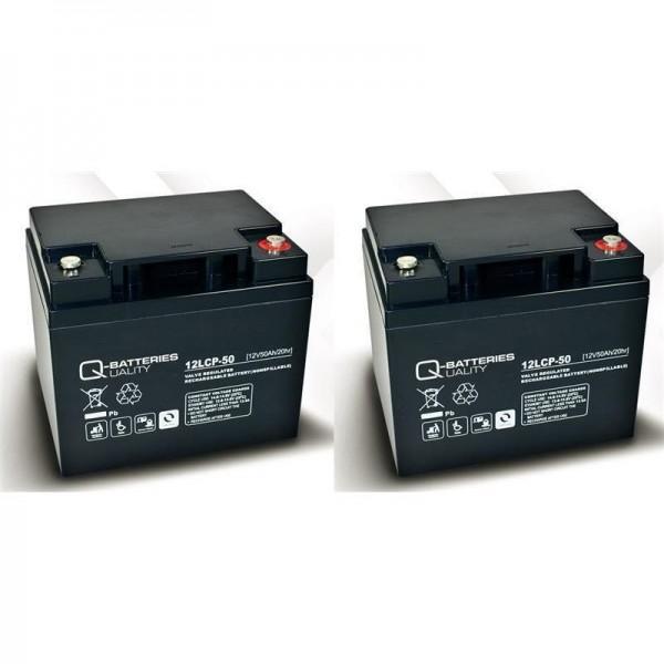 Vervangingsbatterij voor Invacare G2000 2 stuks. Q batterijen 12LCP-50 12V – 50 Ah loodaccu type AGM