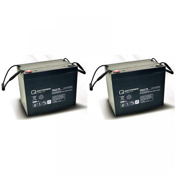 Vervangingsbatterij voor Ortopedia Allround 952 2 stuks. Q batterijen 12LC-75/12V-77 Ah loodaccu typ