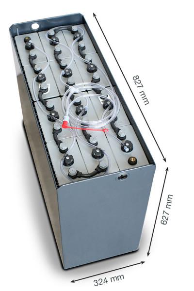 Q-Batteries 24V vorkheftruck accu 5 PzS 575 Ah DIN A (827 * 324 * 627 mm L/B/H) caja de acero 570140