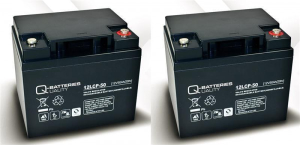 Vervangende batterij Orthopedia Ortocar 3/4Klassieke 2 stuks. Q batterijen 12LCP-50 12V-50 Ah lood b
