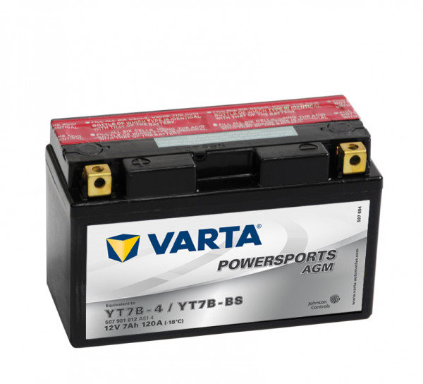 VARTA Powersports AGM YT7B-4 Motorfietsaccu YT7B-BS 507901012 12V 7 Ah 120A