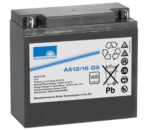 Exide sonnenschein A512/16 G5 VdS 12V 16 Ah dryfit loodgel accu VRLA
