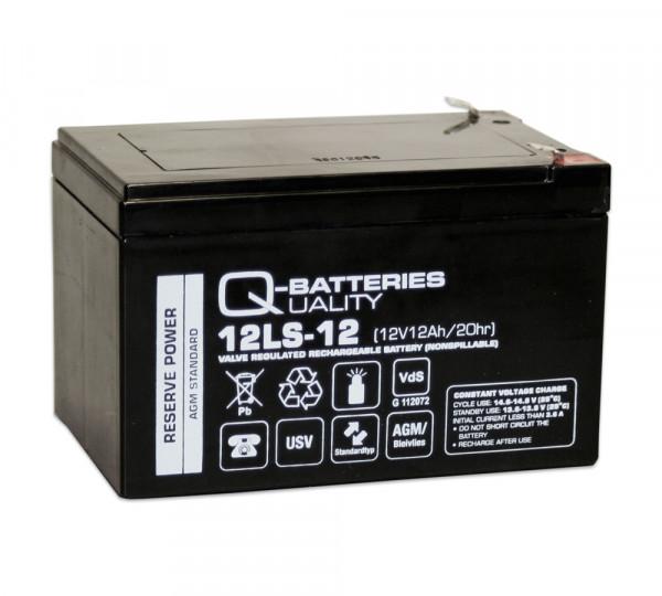 Q-Batteries 12LS-12 F1 12V 12 Ah lood vlies batterij/AGM VRLA met VdS