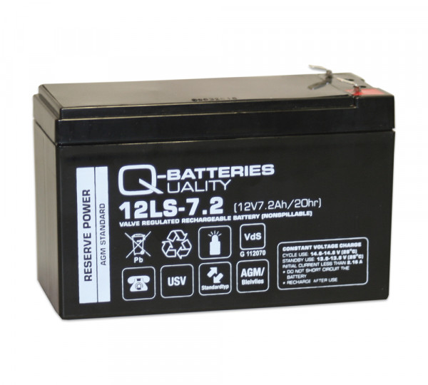 Q-Batteries 12LS-7.2 F2 12V 7.2 Ah Lead non spillable accu/AGM VRLA met VdS