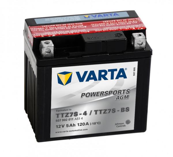 VARTA Powersports AGM TTZ7S-4 Motoraccu YTZ7S-BS 507902011 12V 5 Ah 120A