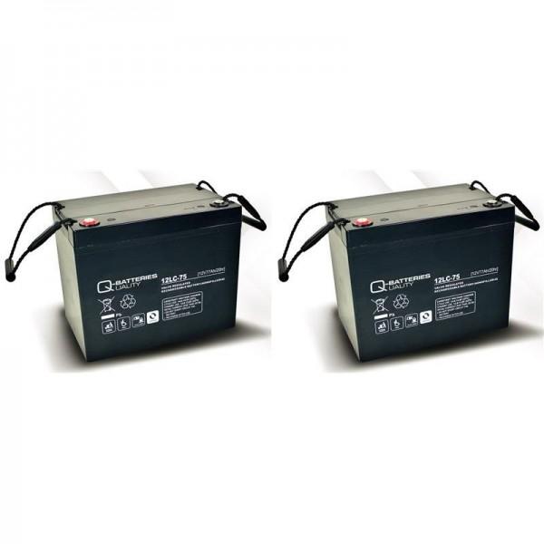 vervangingsbatterij voor Mobilis M84 2 St. Q-Batteries 12LC-75/12V – 77 Ah lood batterij cyclus type