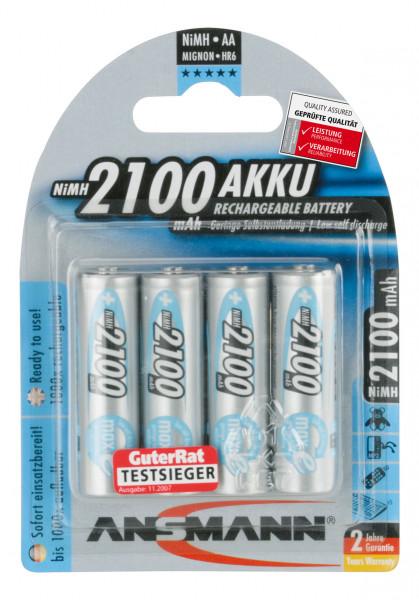 ANSMANN batterij Mignon AA HR06 2100mAh NiMH (4 blisterverpakking)